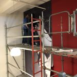 large format wall mural install